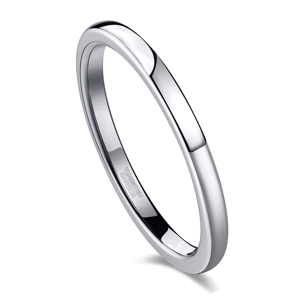 2mm Wedding Band for Women Silver Tungsten Carbide Ring Slim Plain Dome Style Comfort Fit - New Wedding Rings