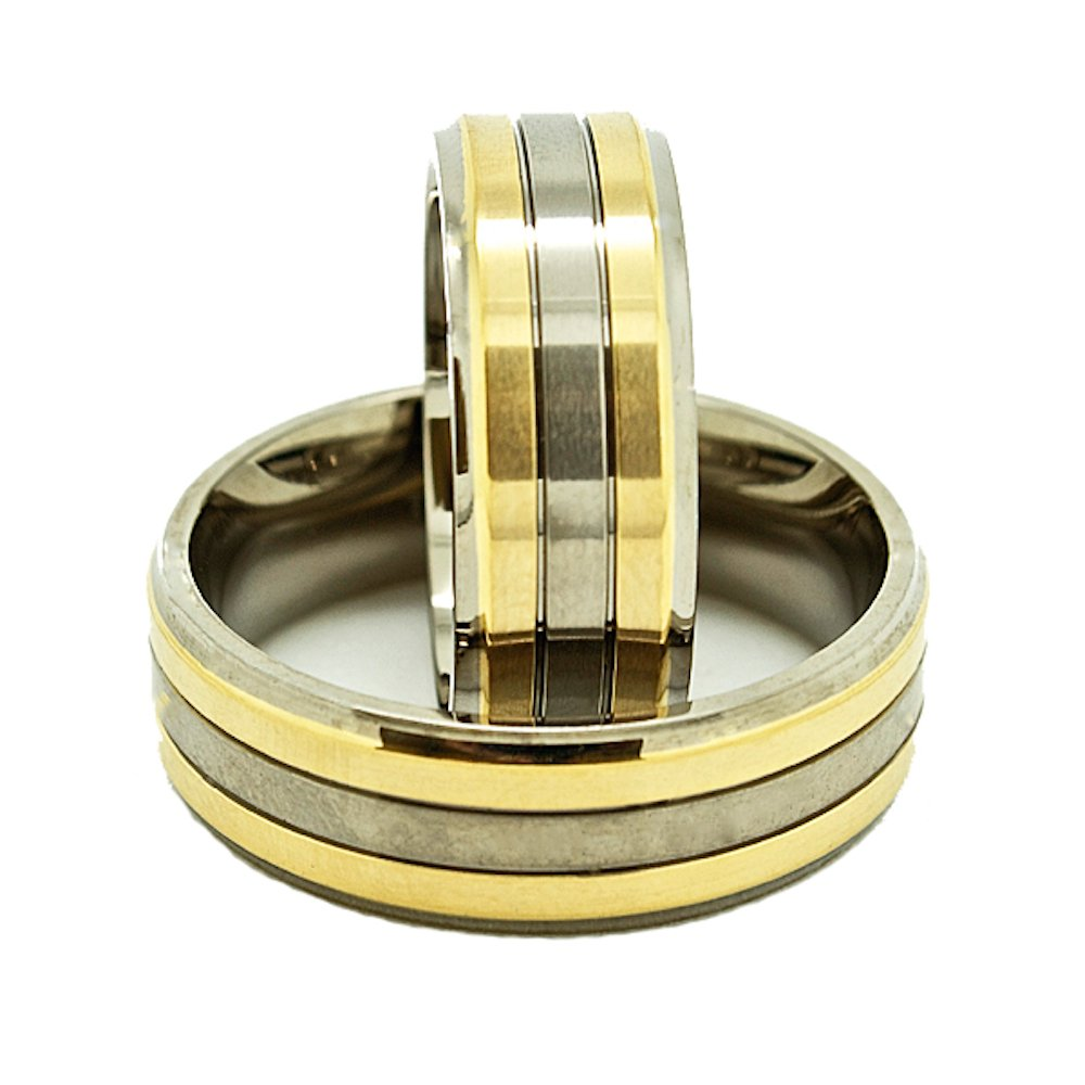 Matching 7mm Titanium Wedding Rings with 2 Golden Colored Lines Set (See Listing for Sizes) - New Wedding Rings