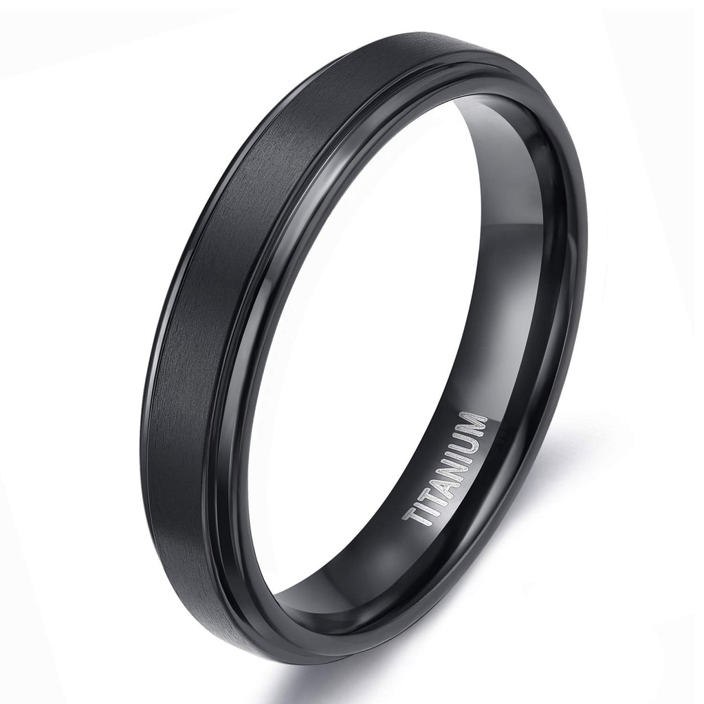 New Wedding Rings 4mm  Black Titanium Rings Wedding Band Matte Comfort Fit for Men Women, Black - New Wedding Rings