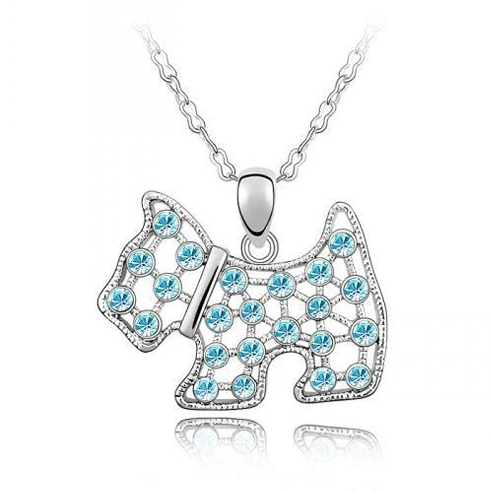 Sparkling Blue Colored Dog Charm Necklace 114 - New Wedding Rings
