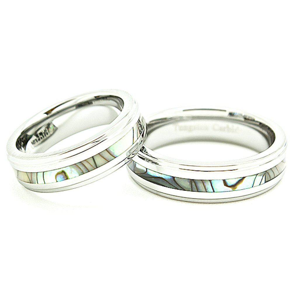 Matching 6mm Tungsten Wedding Rings with Abalone Shell Inlays Set (Check Listing for Sizes) - New Wedding Rings