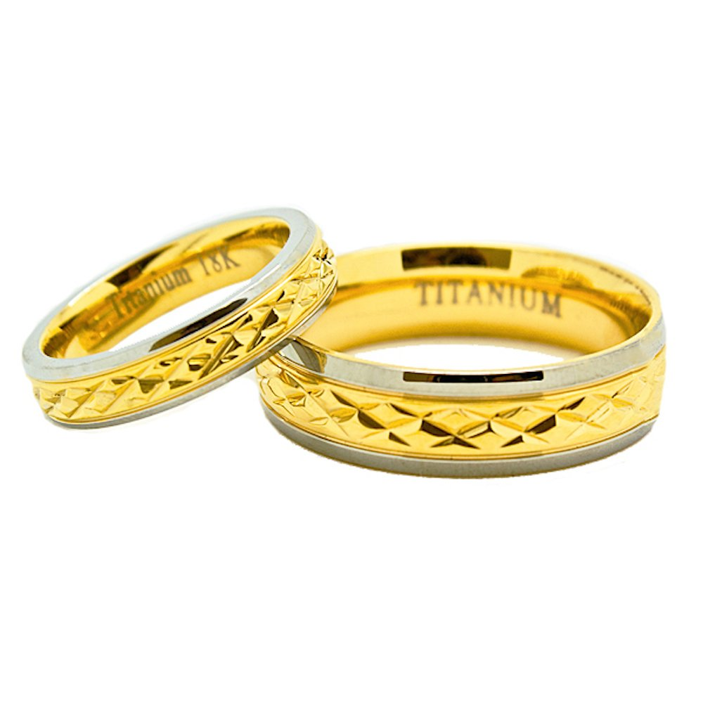 Matching 18K Gold 4mm & 6mm Golden Colored Titanium Middle Facet Wedding Rings (Check listing for sizes) - New Wedding Rings
