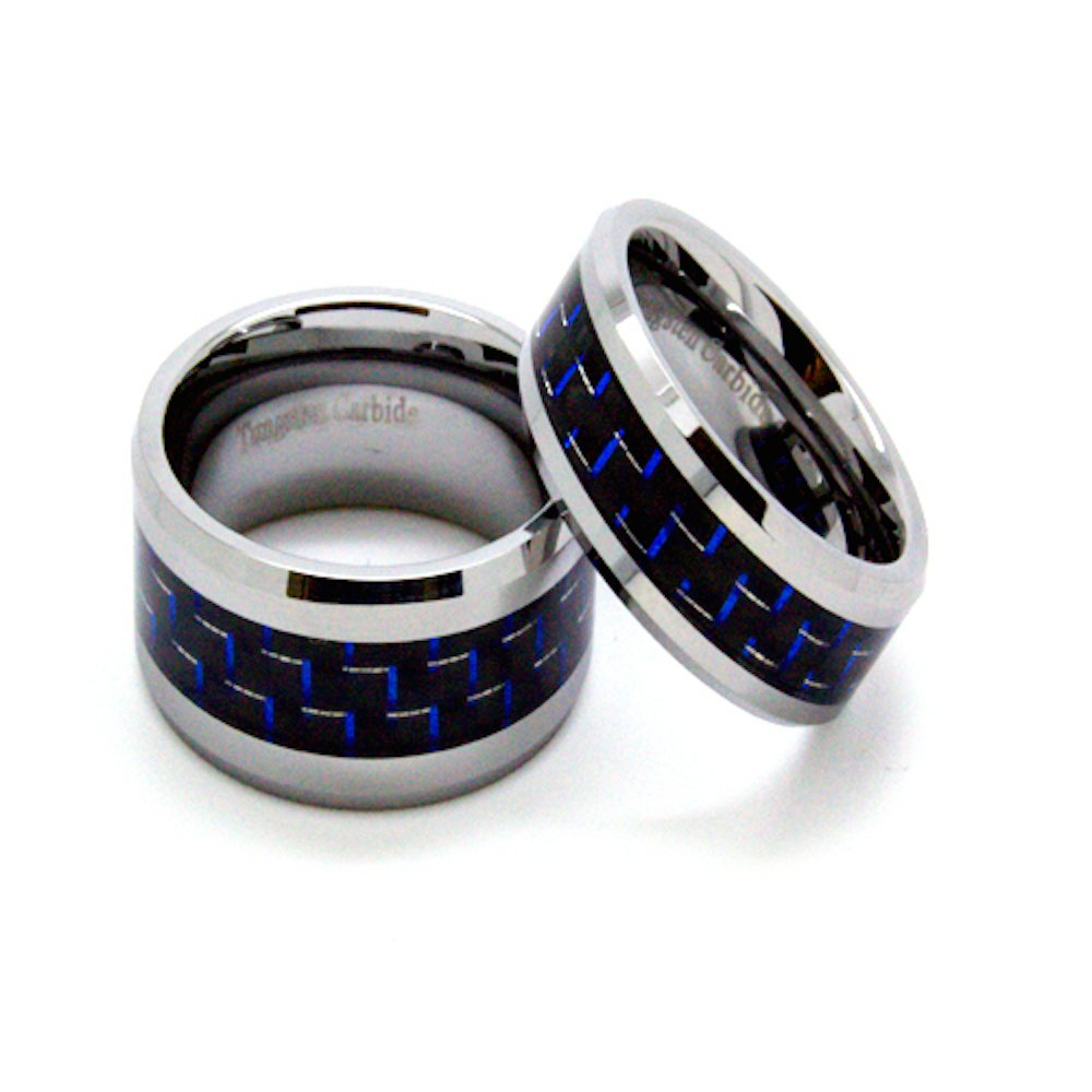 Matching 8mm & 10mm Blue & Black Carbon Fiber Inlay Tungsten Wedding Rings (See listing for sizes) - New Wedding Rings