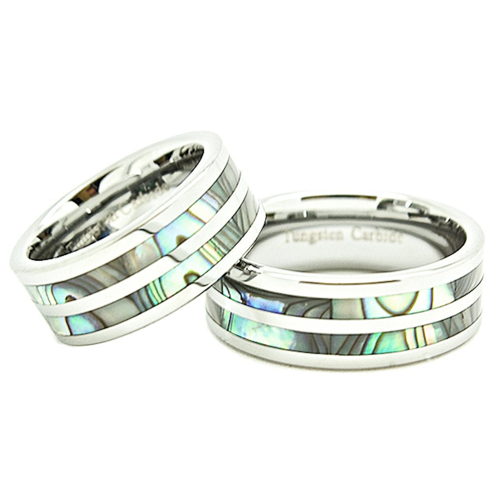 Matching 8mm Tungsten Carbide Wedding Rings with Two Abalone Shell Inlays (Check listing for sizes) - New Wedding Rings