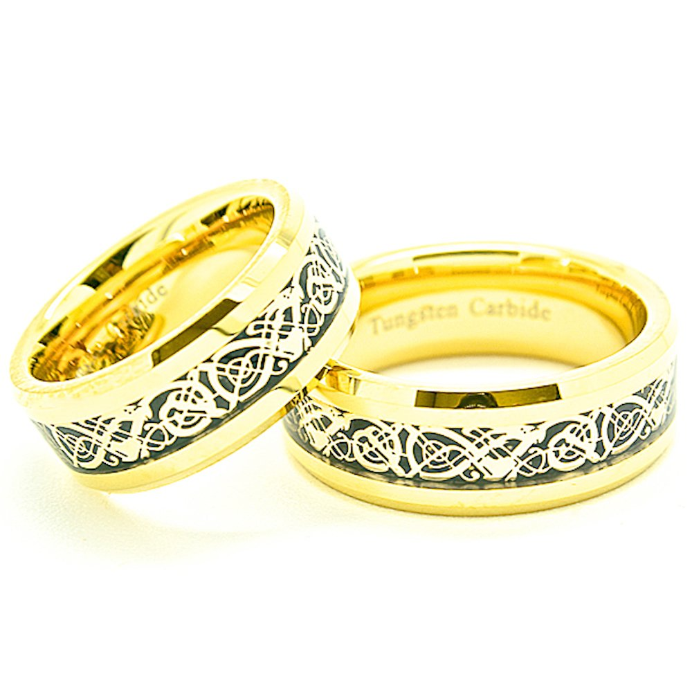 Matching 8mm Golden Colored Tungsten Celtic Dragon Inlay Wedding Rings SET (Check Listing for Sizes) - New Wedding Rings