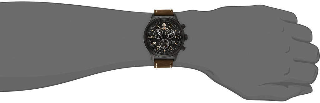Designer Expedition Field Chronograph Black/Brown Leather Strap Watch - New Wedding Rings