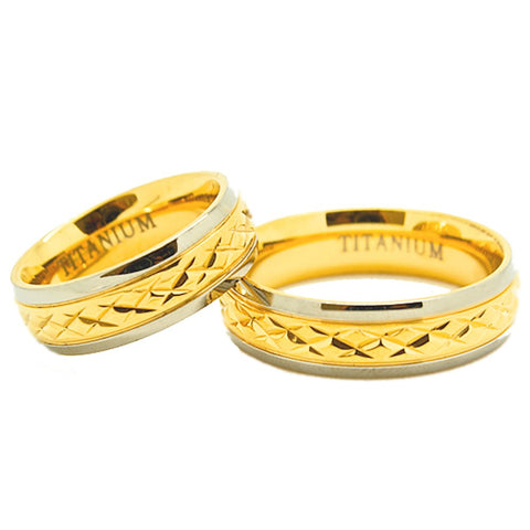 Matching 6mm Golden Colored Middle Facet Titanium Wedding Rings (See listing for sizes) - New Wedding Rings