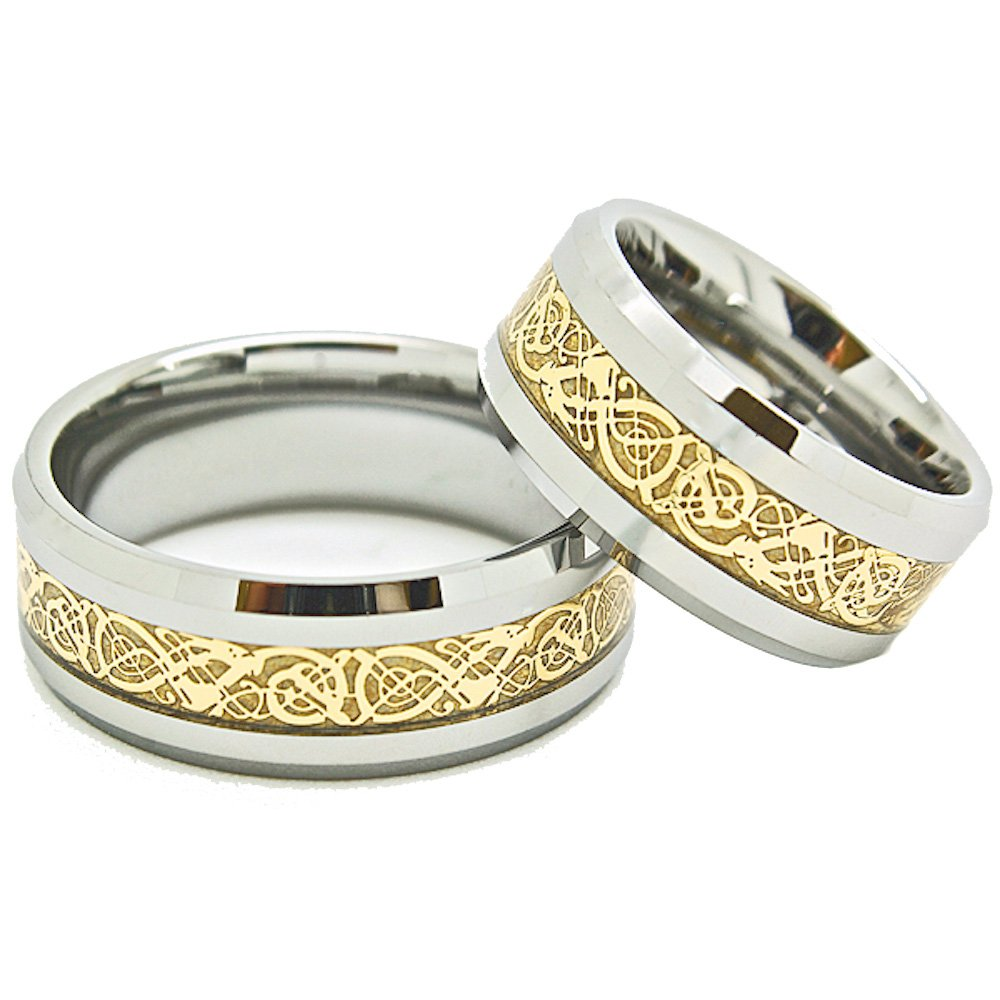 Matching 9mm Tungsten Golden Colored Celtic Dragon Inlay Wedding Rings set (See Listing for Sizes) - New Wedding Rings
