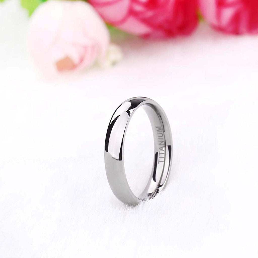 4mm Classic Dome Titanium Ring Plain Dome High Polished Wedding Band Comfort Fit Size 4-14 - New Wedding Rings