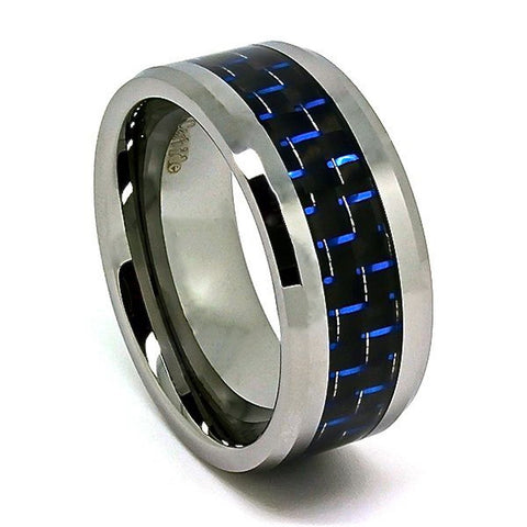 Extra Wide 10mm Tungsten Carbide Wedding Band with Black and Blue Carbon Fiber Inlay Size 7-16 - New Wedding Rings