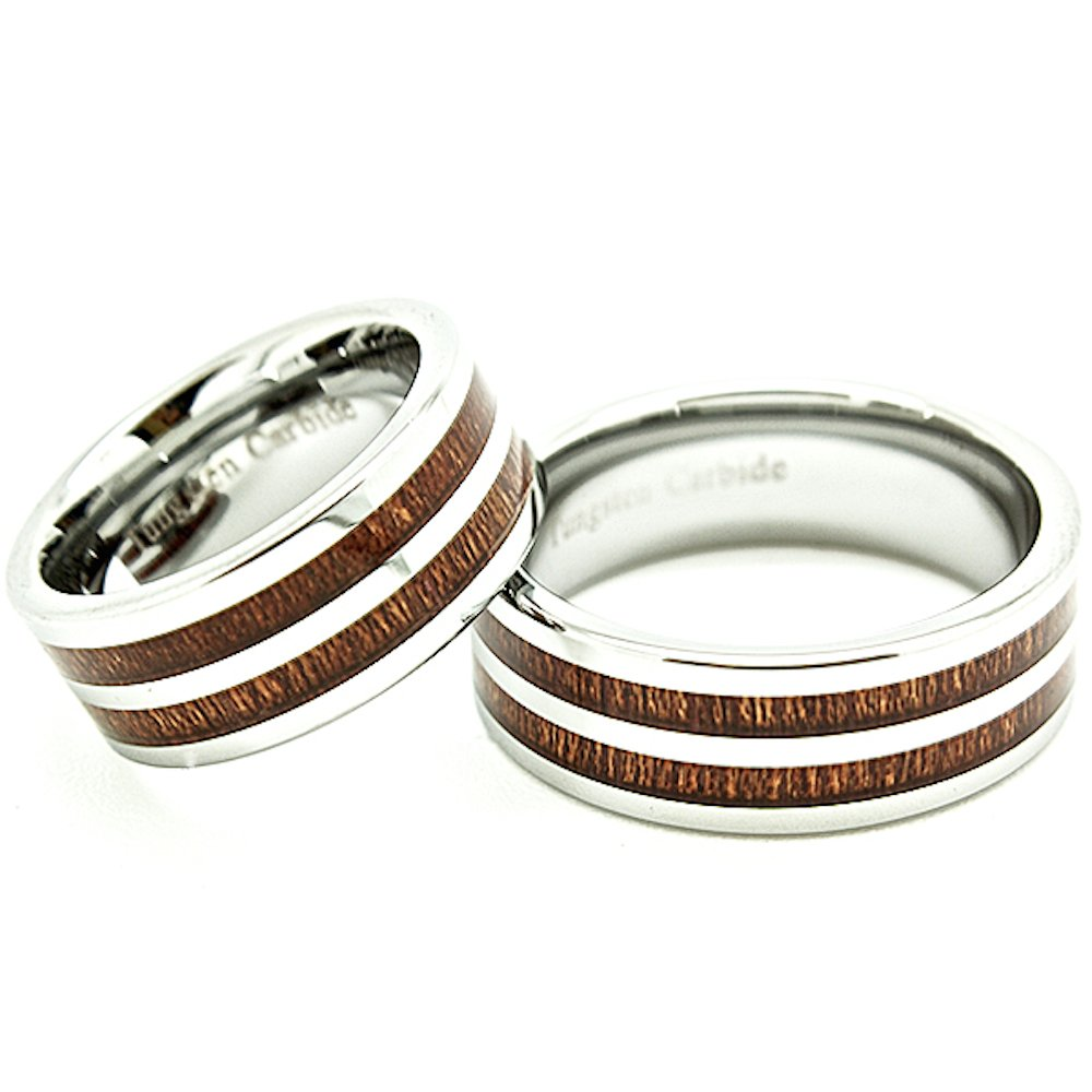 Matching 8mm Tungsten Carbide Wedding Rings with Two Wood Grain Inlays (See Listing for Sizes) - New Wedding Rings