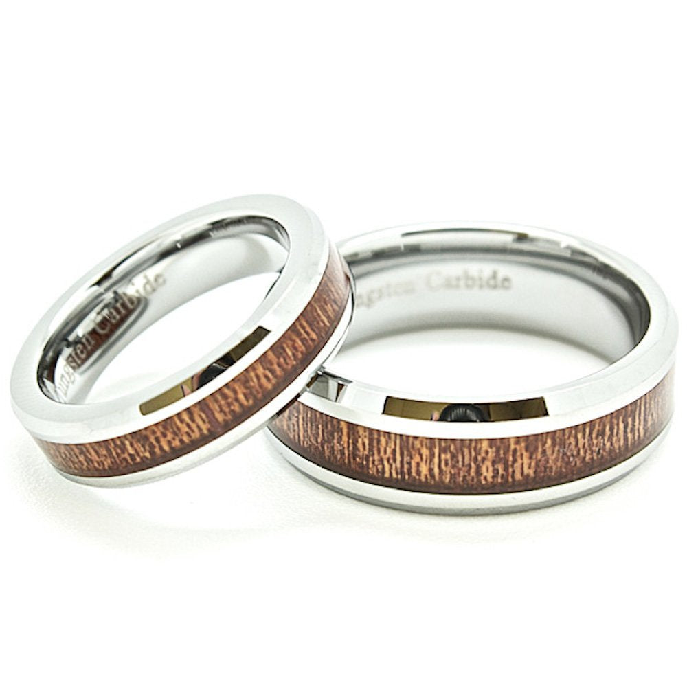 Blue Chip Unlimited Matching 5mm & 7mm Tungsten Wedding Rings with Wood Grain Inlay (See Listing for Sizes) - New Wedding Rings