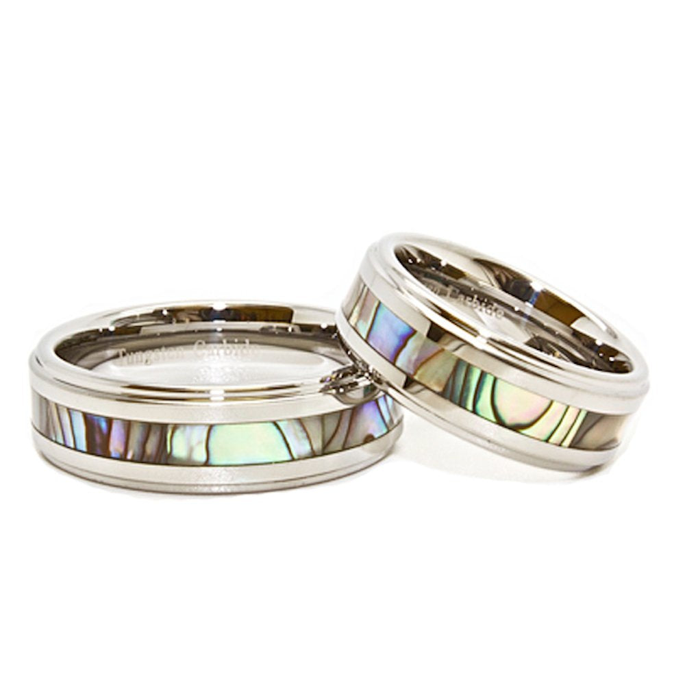 Matching 8mm Tungsten Carbide Wedding Rings with Abalone Shell Inlay Set (See listing for sizes) - New Wedding Rings
