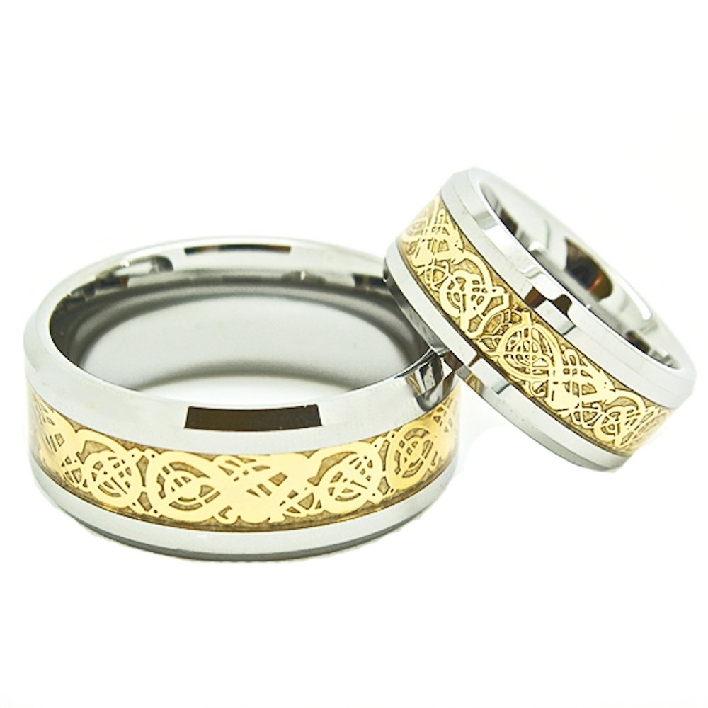 Matching 8mm & 10mm Tungsten Golden Colored Celtic Dragon Inlay Wedding Rings (See listing for sizes) - New Wedding Rings