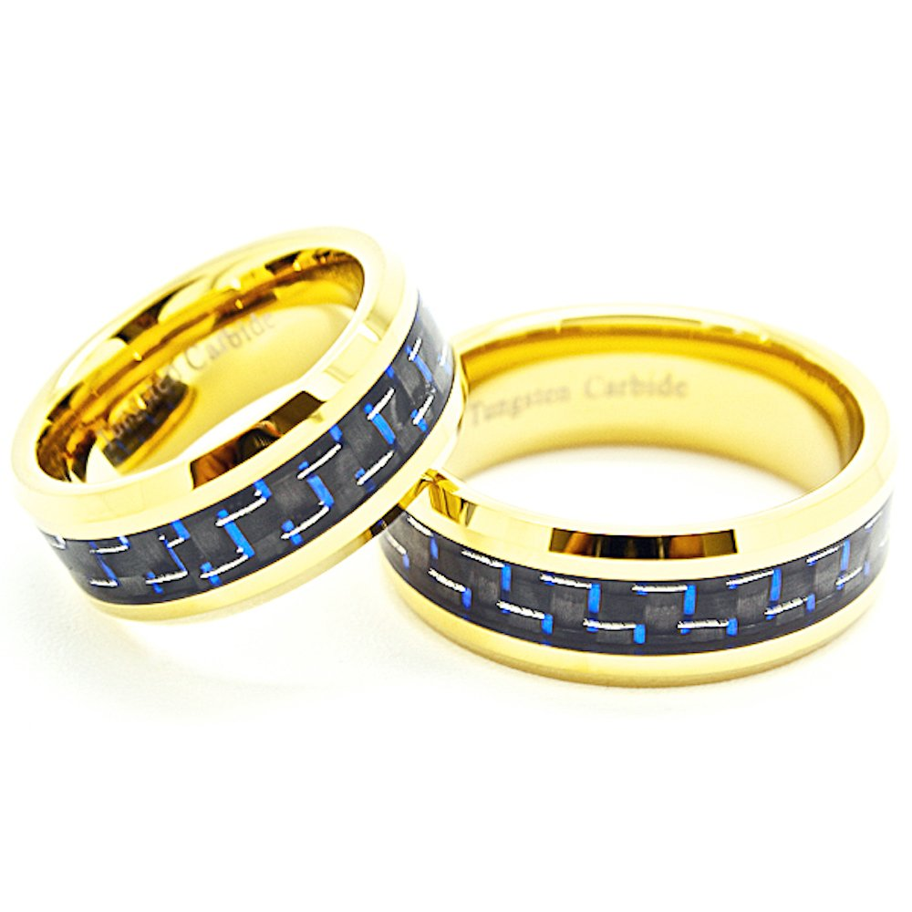 Matching 8mm Blue & Black Carbon Fiber Golden Colored Tungsten Wedding Rings Set (See listing for sizes) - New Wedding Rings