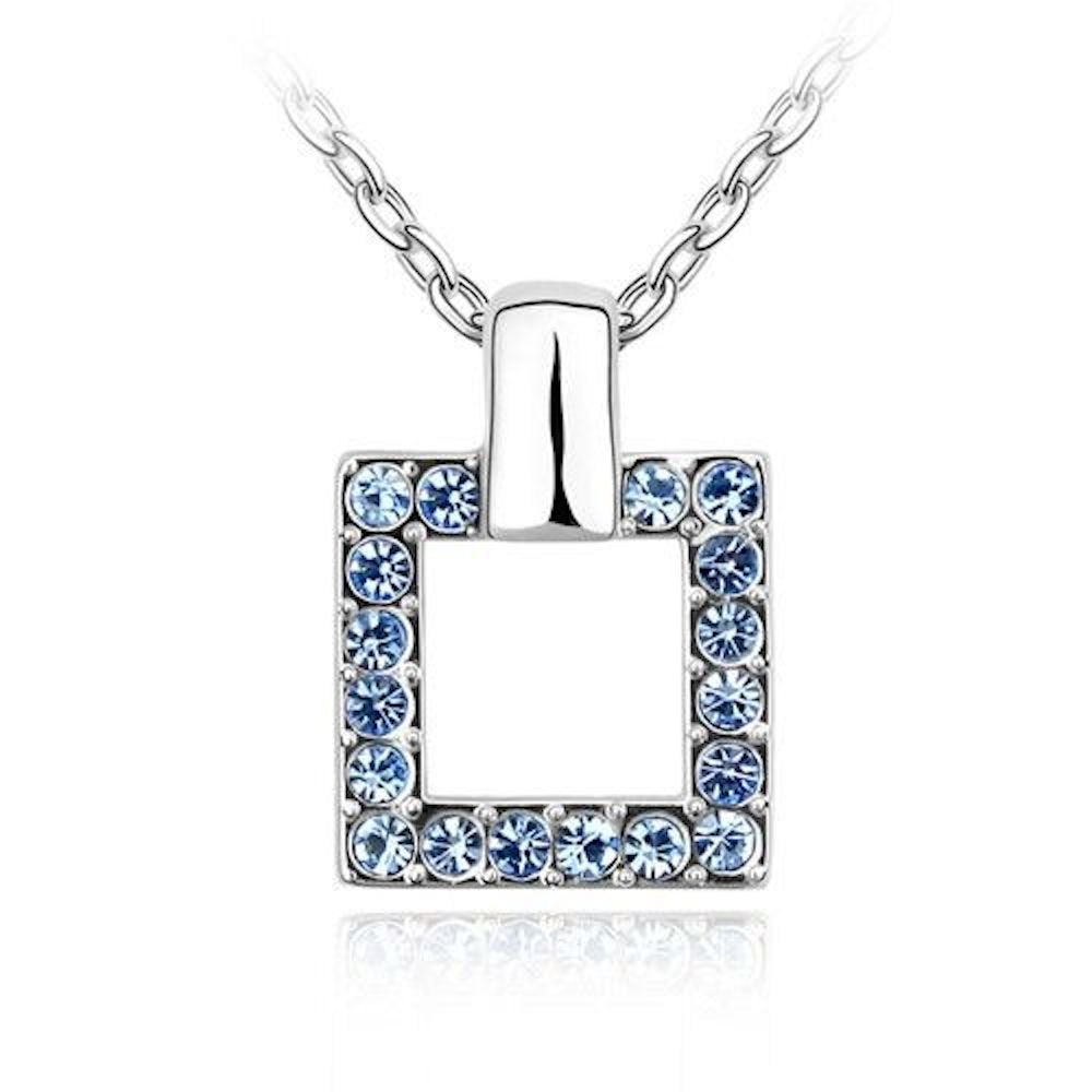 Sparkling Dark Blue Colored Square Charm Necklace 171 - New Wedding Rings