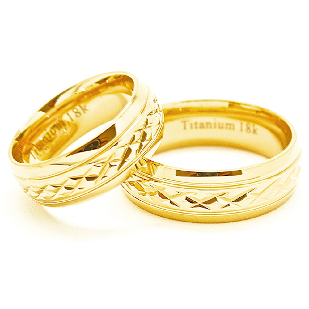 Matching 7mm Golden Colored Faceted Titanium Wedding Rings (Check listing for sizes) - New Wedding Rings