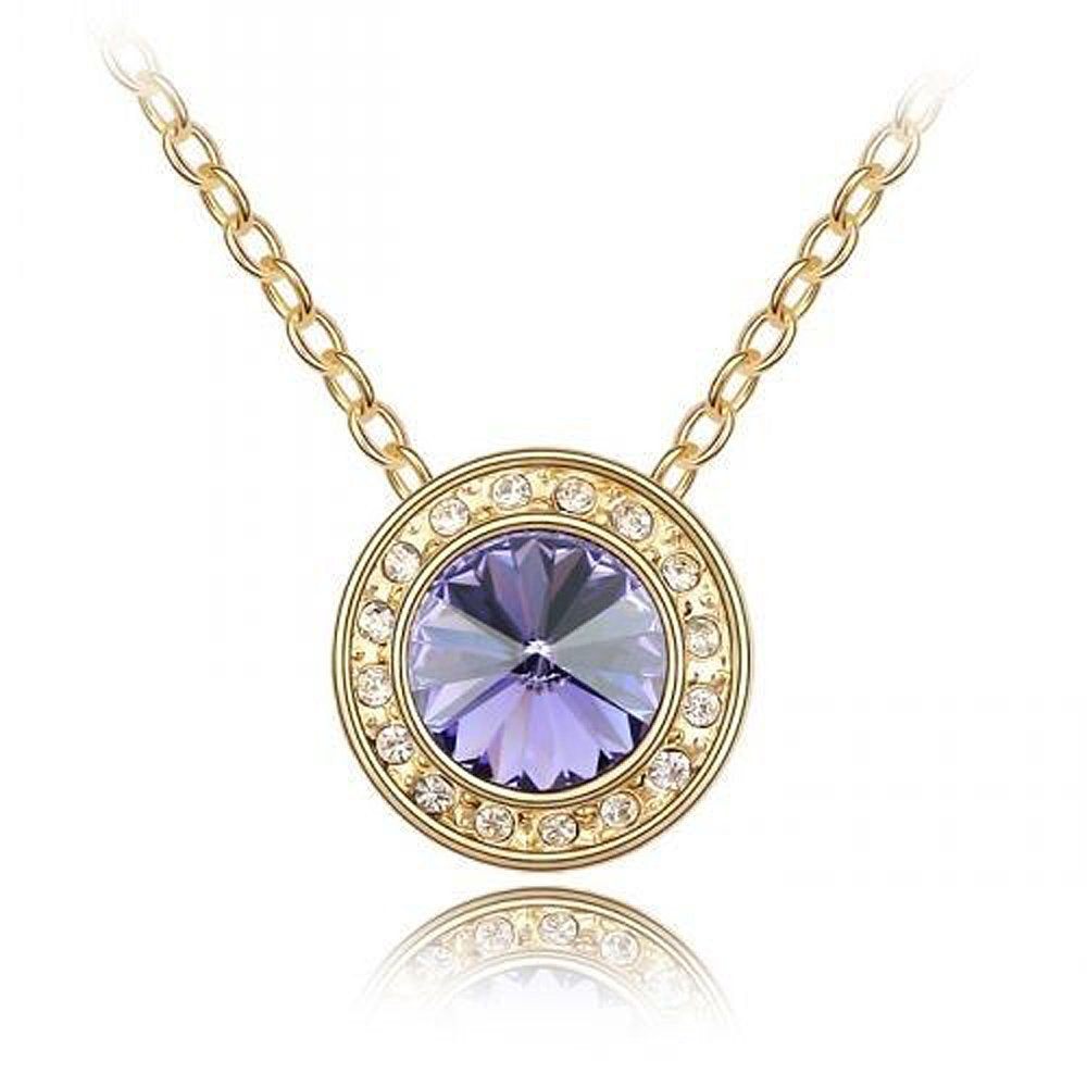 Sparkling Purple Colored and Clear Circle Charm Necklace 134 - New Wedding Rings