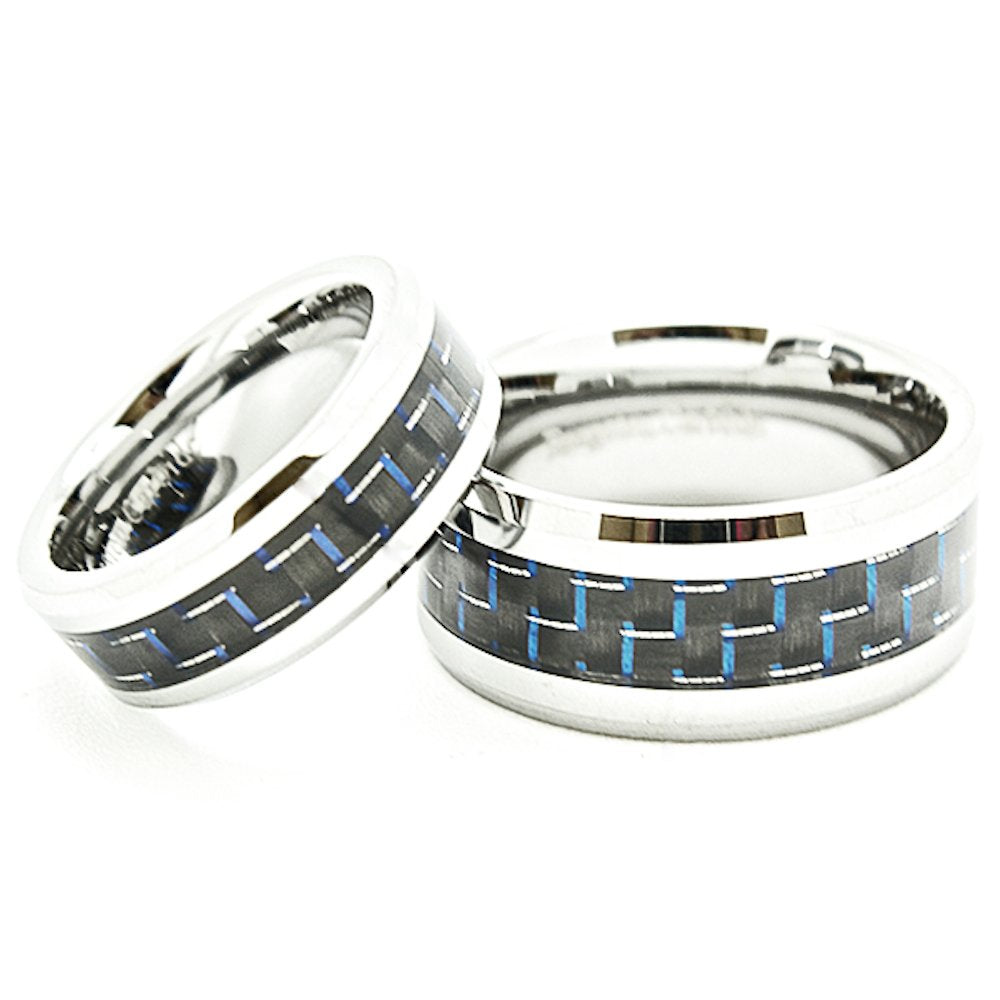 Matching 7mm & 10mm Blue & Black Carbon Fiber Inlay Tungsten Wedding Rings (Check listing for sizes) - New Wedding Rings