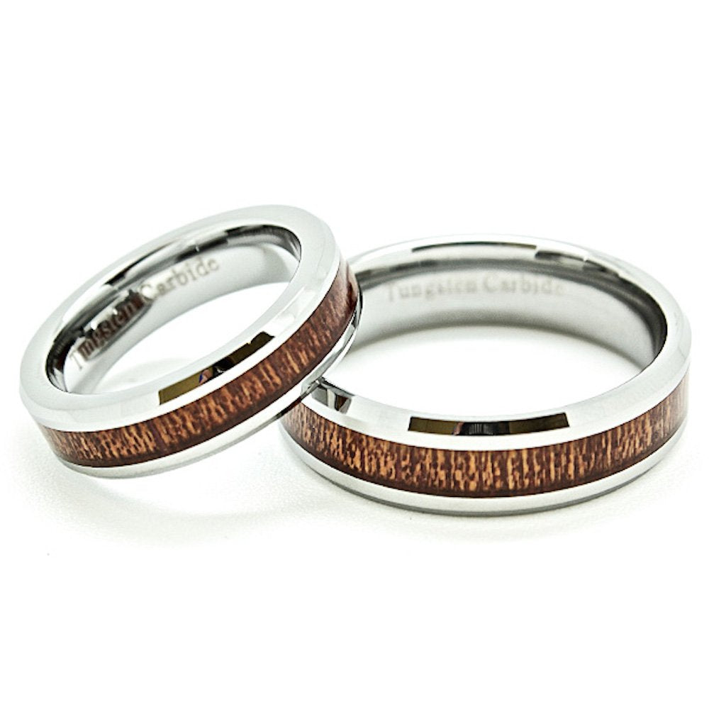 Matching 5mm & 6mm Tungsten Wedding Rings with Wood Grain Inlay (See Listing for Sizes) - New Wedding Rings
