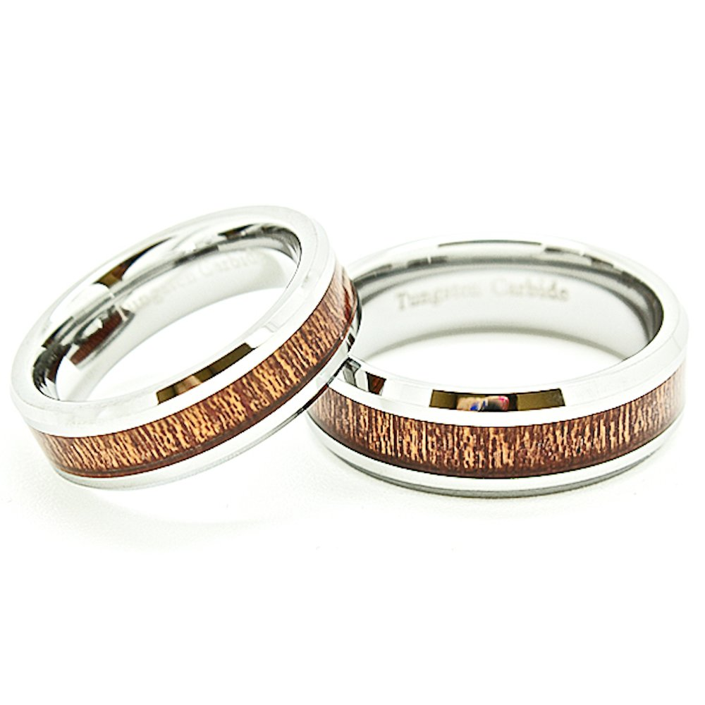Blue Chip Unlimited Matching 6mm & 7mm Tungsten Wedding Rings with Wood Grain Inlay (See Listing for Sizes) - New Wedding Rings
