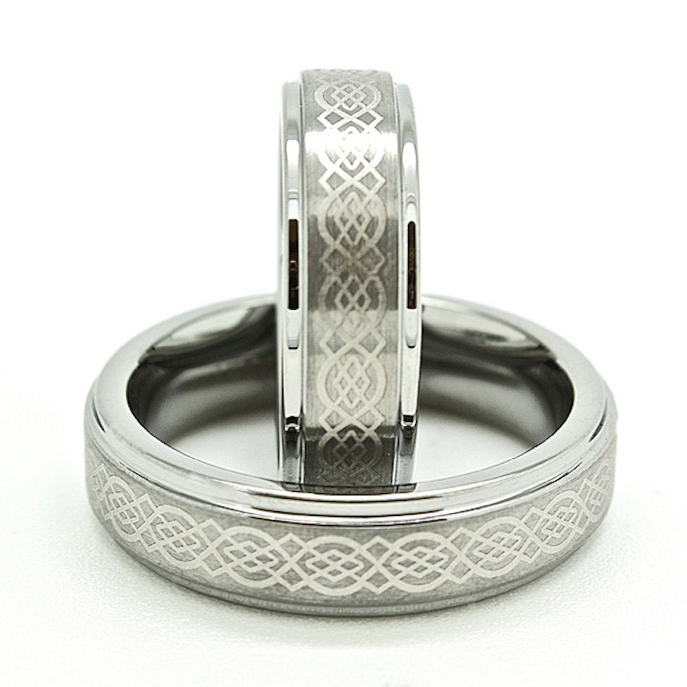 Matching 6mm Tungsten Carbide Wedding Rings with Celtic Love Knot (Check listing for sizes) - New Wedding Rings