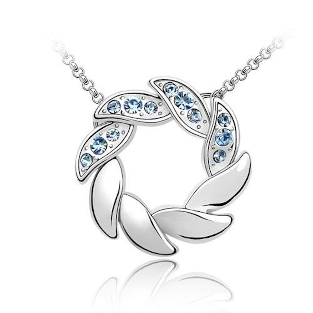 Sparkling Blue Wreath Charm Pendant Necklace 170 - New Wedding Rings