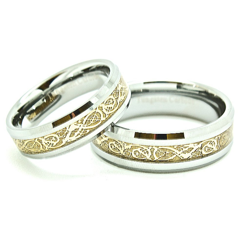 Matching 6mm & 7mm Tungsten Golden Colored Celtic Dragon Inlay Wedding Rings set (Check Listing for Sizes) - New Wedding Rings
