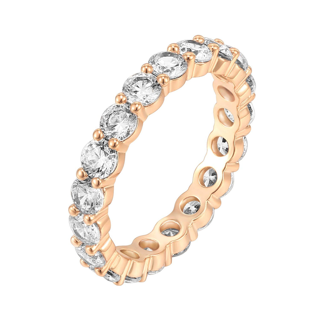 NEW WEDDING RING 14K Rose Gold Plated Cubic Zirconia Rings | 3.0mm Eternity Bands | Rose Gold Rings for Women Size 5 - New Wedding Rings