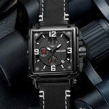BIONIC Men's Analogue Army Military Chronograph Luminous Quartz Watch with Fashion Leather Strap for Sport & Business Work (2061 Black) - New Wedding Rings
