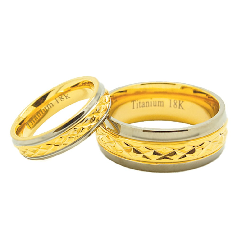 Matching 5mm & 8mm Golden Colored Middle Facet Titanium Wedding Rings Set (See listing for sizes) - New Wedding Rings