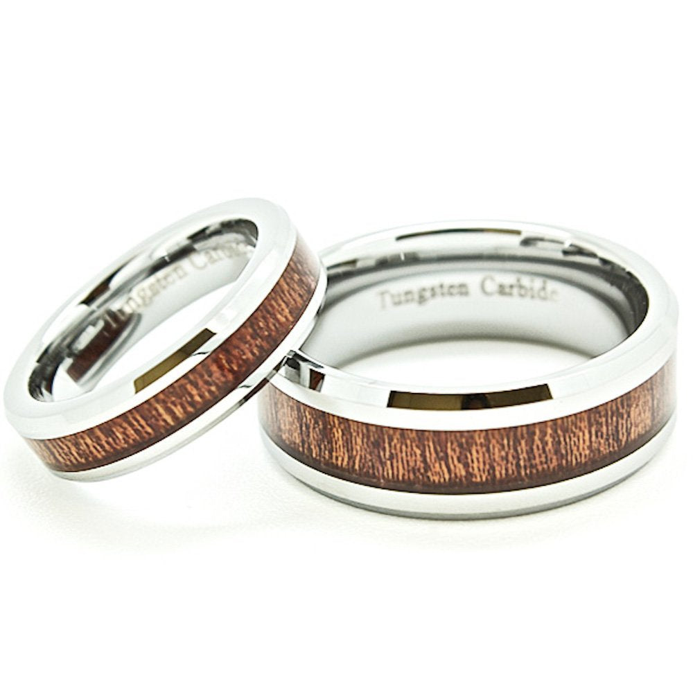 Matching Bands 5mm & 8mm Tungsten Wedding Rings with Wood Grain Inlay (See Listing for Sizes) - New Wedding Rings