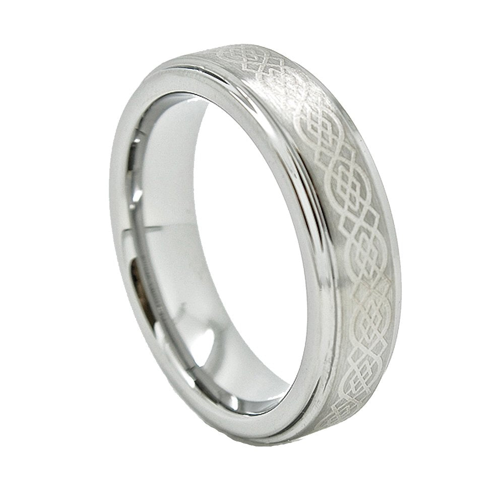 Unisex 6mm Tungsten Carbide Wedding Band with Celtic Knot Design (US Sizes 4 - 13) - New Wedding Rings