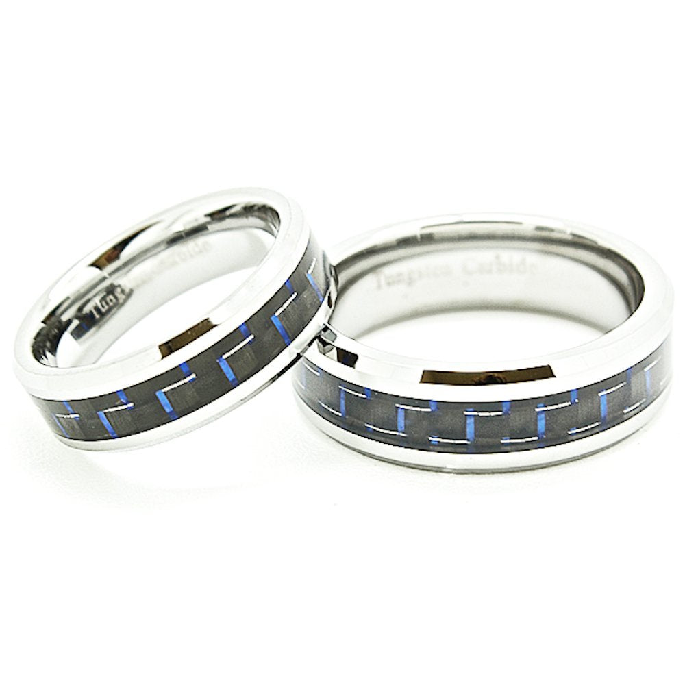 Matching 6mm & 7mm Blue & Black Carbon Fiber Inlay Tungsten Wedding Rings Set (Check listing for sizes) - New Wedding Rings