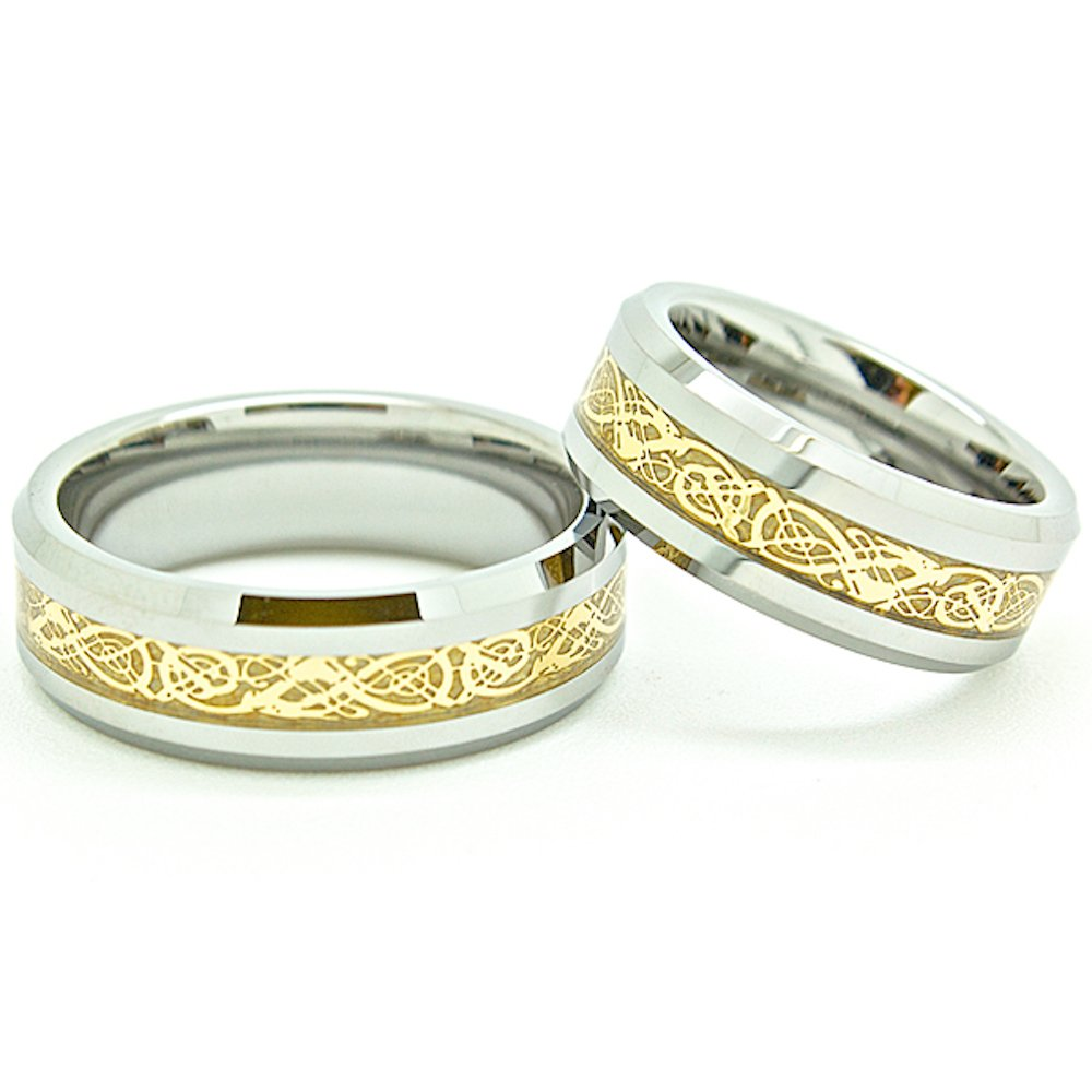 Matching 7mm Tungsten Golden Colored Celtic Dragon Inlay Wedding Rings (Check listing for sizes) - New Wedding Rings