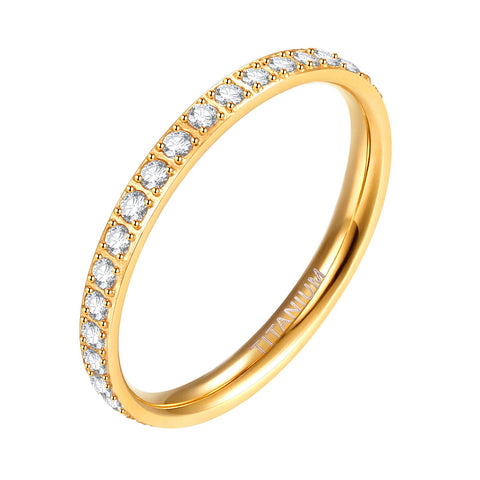 2mm Women Titanium Eternity Ring Cubic Zirconia Anniversary Wedding Engagement Band Size 3-13, Gold - New Wedding Rings
