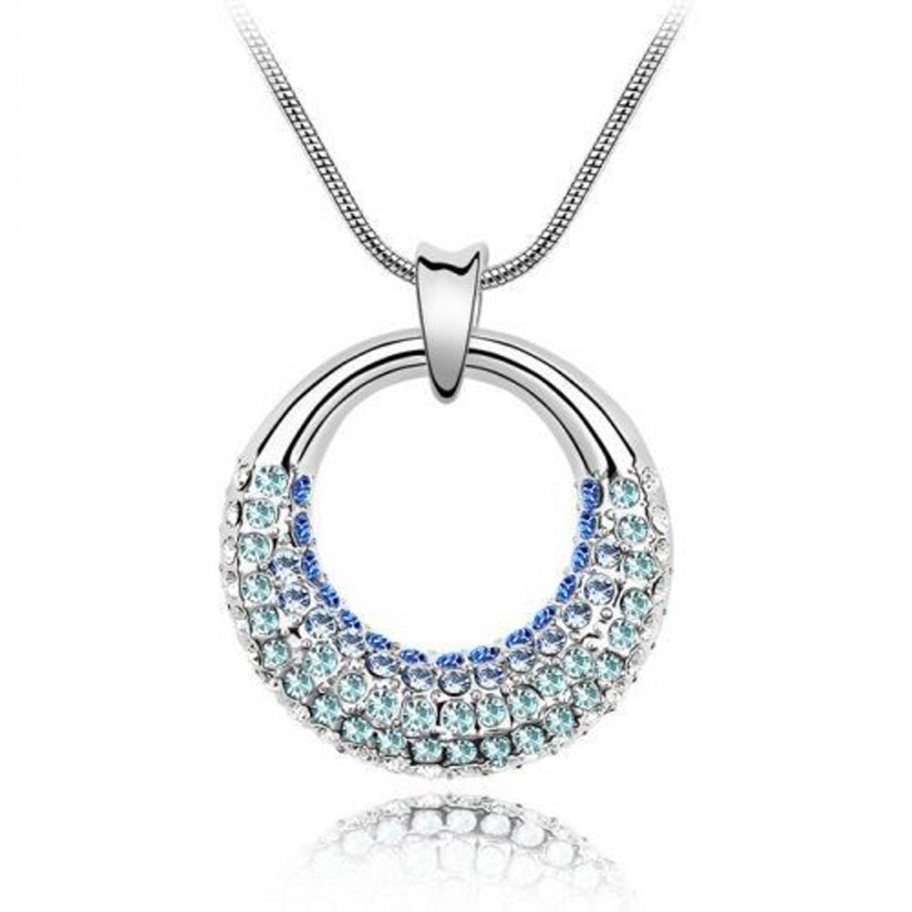 Sparkling Shades of Blue Colored Circle Charm Necklace 136 - New Wedding Rings