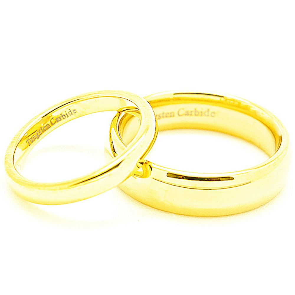Matching 3mm & 6mm Classic Domed Golden Colored Tungsten Wedding Rings (See listing for sizes) - New Wedding Rings