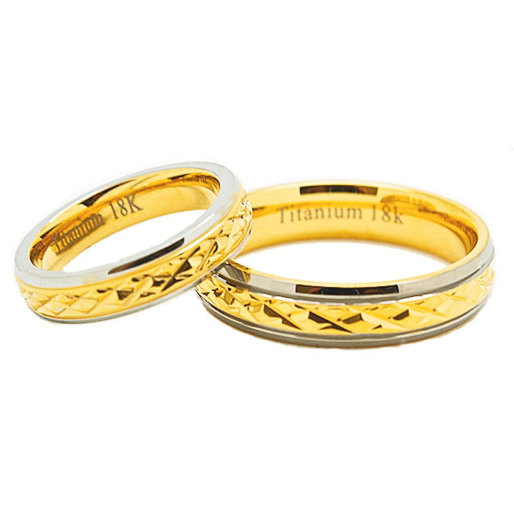 Matching 18k 4mm & 5mm Solid Gold Middle Facet Titanium Wedding Rings Set - New Wedding Rings