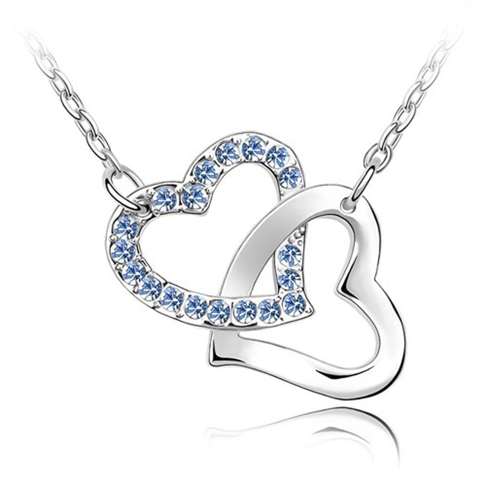 Sparkling Dark Blue Colored Interlocked Hearts Charm Necklace 124 - New Wedding Rings