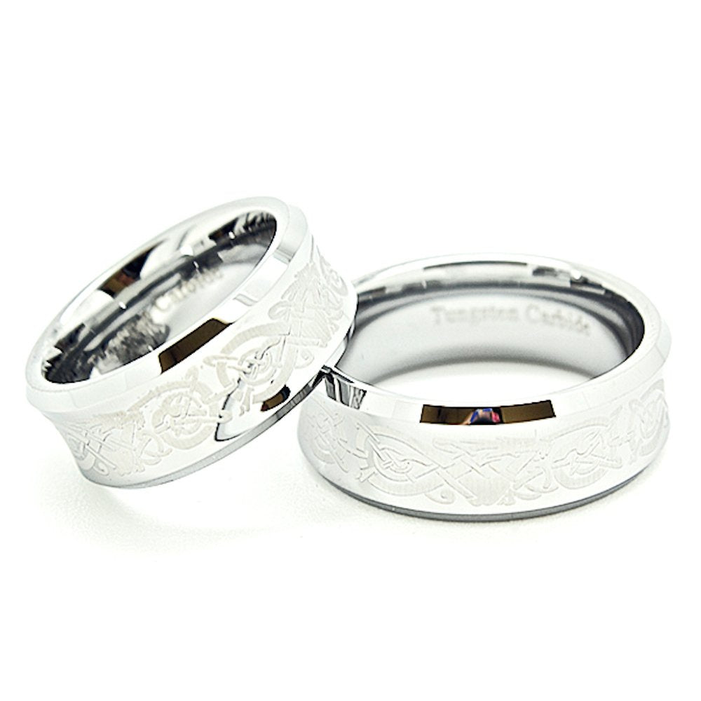 Matching 8mm Concaved Tungsten Wedding Rings with Celtic Dragon Design Set (Check Listing for Sizes) - New Wedding Rings