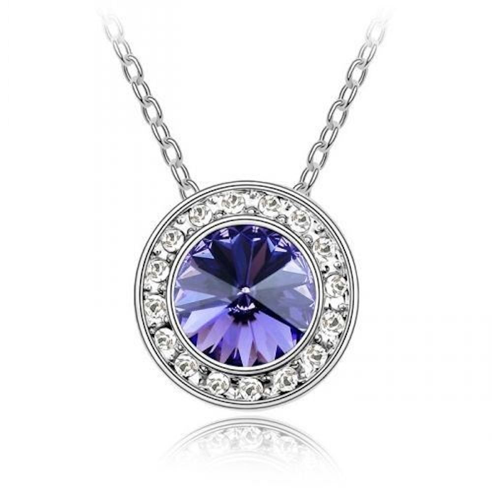Sparkling Purple Colored and Clear Circle Charm Necklace 186 - New Wedding Rings