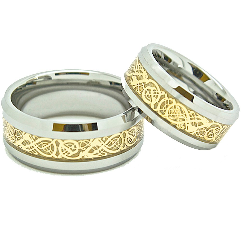 Matching 8mm & 9mm Tungsten Golden Colored Celtic Dragon Inlay Wedding Rings (Check listing for sizes) - New Wedding Rings