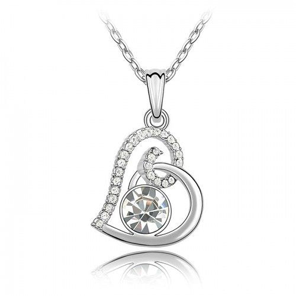 Sparkling Clear Swirled Heart Charm Necklace 118 - New Wedding Rings