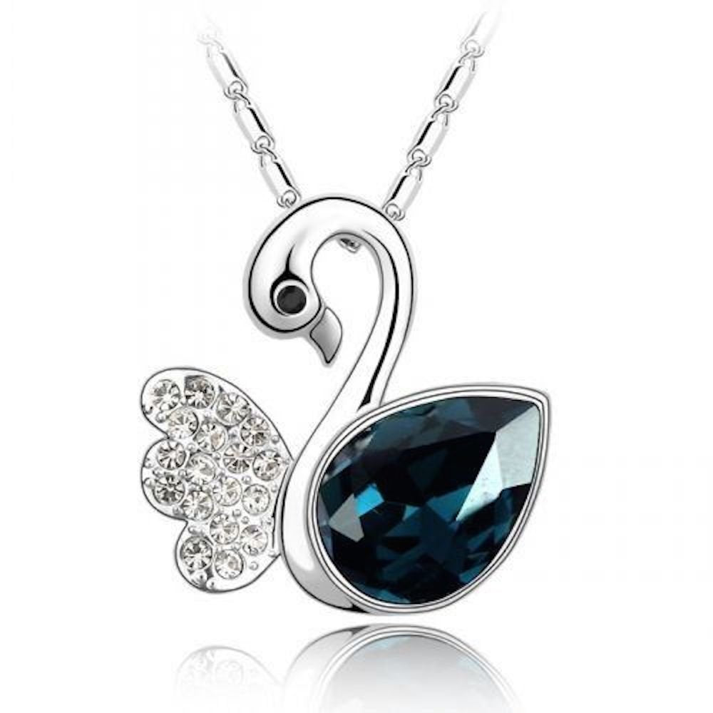 Sparkling Dark Blue Colored and Clear Swan Charm Necklace 166 - New Wedding Rings