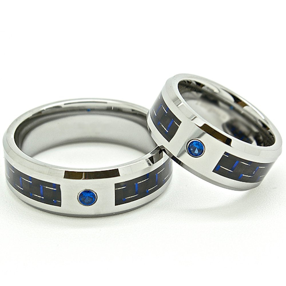 Matching 8mm Black & Blue Carbon Fiber Inlay Blue Stone Tungsten Wedding Rings set (See listing for sizes) - New Wedding Rings