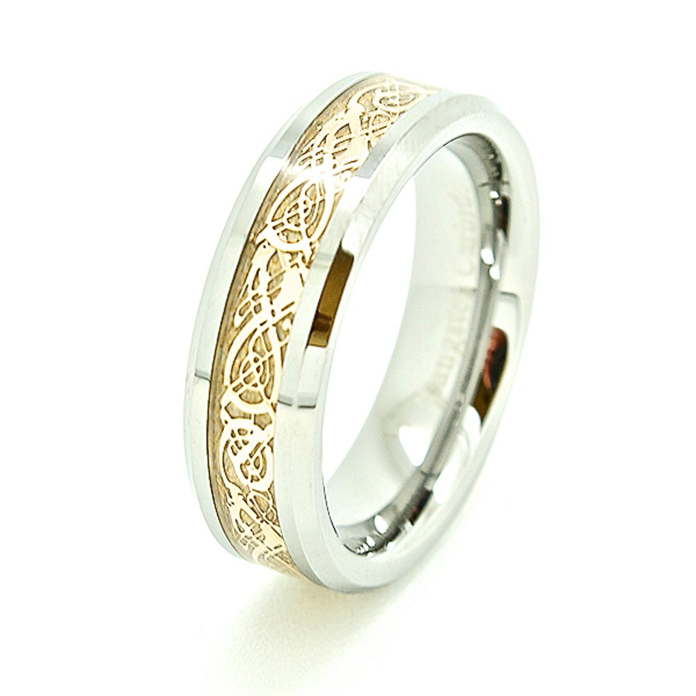 6mm Polished Tungsten with Golden Colored Celtic Dragon Inlay Wedding Band Size 4-17 - New Wedding Rings