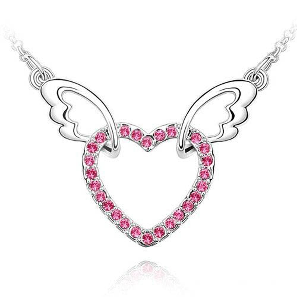 Sparkling Pink Colored Heart with Wings Charm Necklace 140 - New Wedding Rings