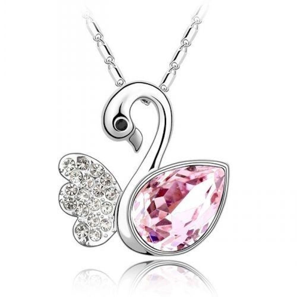 Sparkling Pink Colored and Clear Swan Charm Necklace 163 - New Wedding Rings