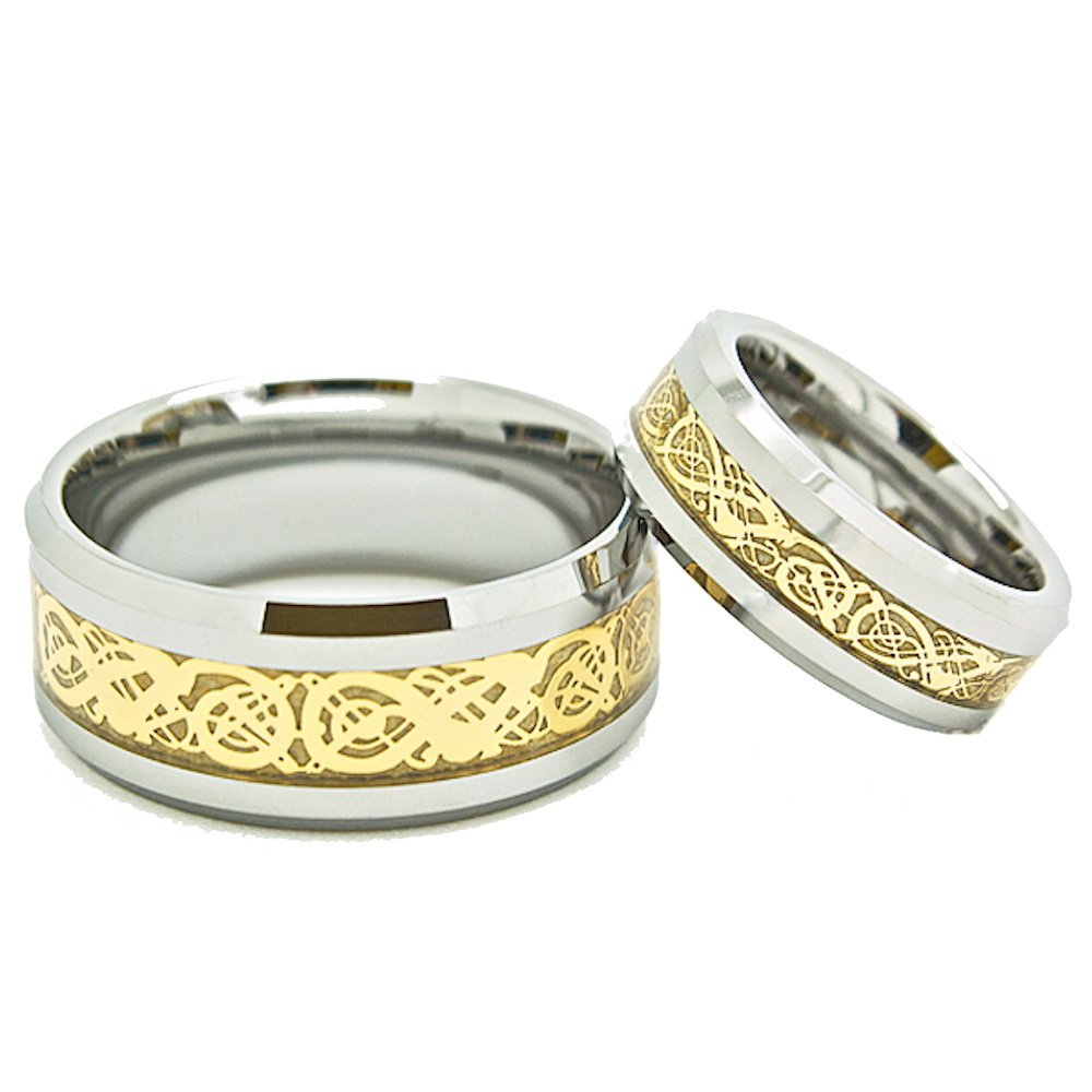Matching 7mm & 10mm Tungsten Golden Colored Celtic Dragon Inlay Wedding Rings Set (Check Listing for Sizes) - New Wedding Rings